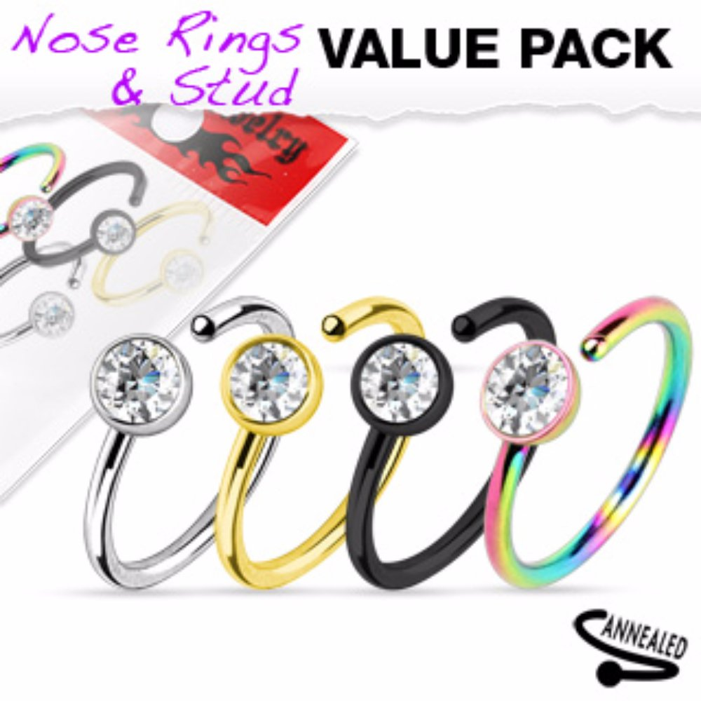 4 Pcs Value Pack of Assorted Titanium IP Clear CZ 316L Surgical Steel Nose Ring