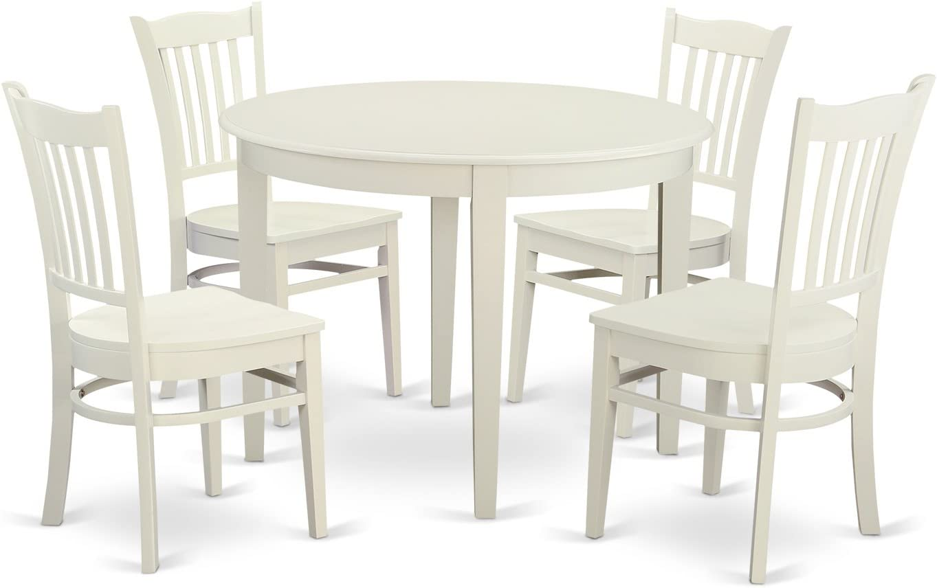 BOGR5-WHI-W 5 Pc Dinette set – Small Kitchen Table and 4 Dining Chairs