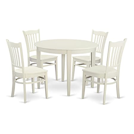 East West Furniture BOGR5-WHI-W 5 Piece Small Kitchen Table and 4 Dining Room Chairs Dinette Set