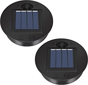 2 Pack Solar Lights Replacement Top - 7 lumens LED Solar Panel Lantern Lid Lights , Lantern Light Replacement , Outdoor Solar Replacement Parts , Garden Patio Decor Light up Your Space (2.76in)