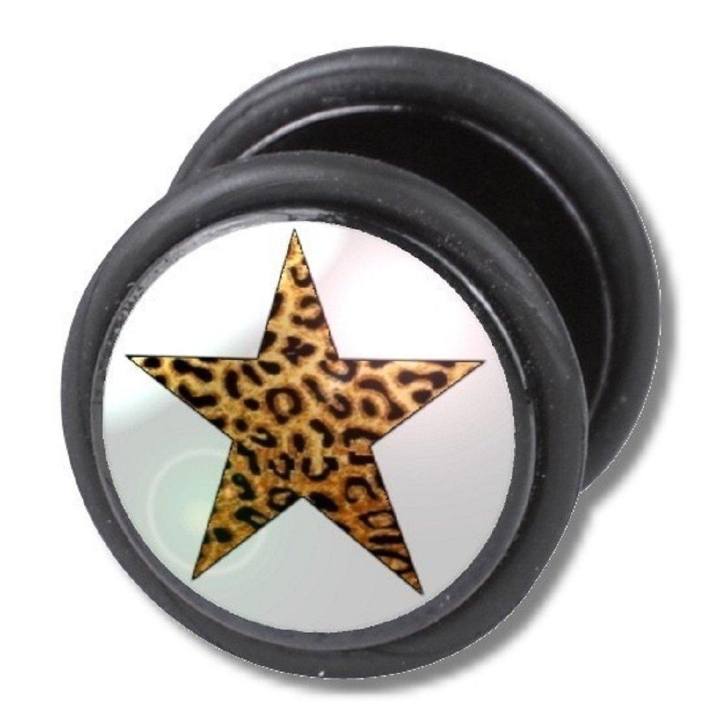 Dilatador Falso Piercing Plug, Pendiente, Estrella Leopardo ...