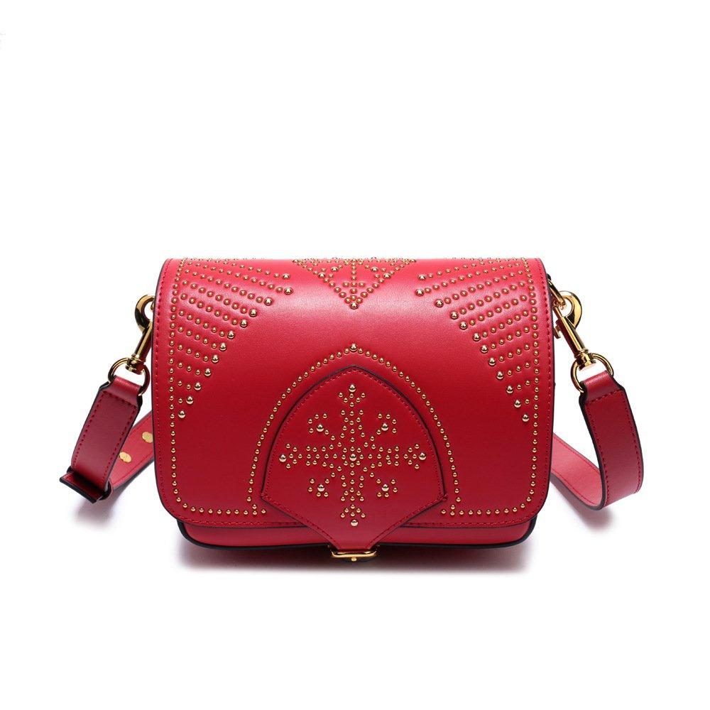 Red AI BAO Genuine Leather Handbags Saddle Bag for Women Designer Ladies Vintage Tote Satchel Crossbody Shoulder Bags Messenger Bag Female Bag