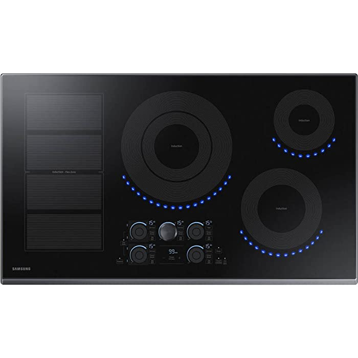 "Samsung 36"" Black Stainless Steel 5 Element Induction Cooktop NZ36K7880UG"