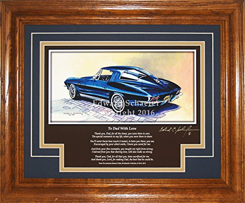 American Memory Prints 1963 Corvette Split Window Coupe DL with The Poem to Dad with Love Corvette Pictures Wall Decor Art Gift for Dad