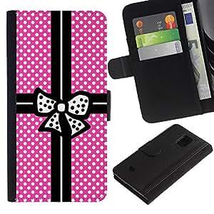 For Samsung Galaxy S5 Mini(Not S5), SM-G800 Case , Pink Polka Dot Package Black Bowtie - la tarjeta de Crédito Slots PU Funda de cuero Monedero caso cubierta de piel