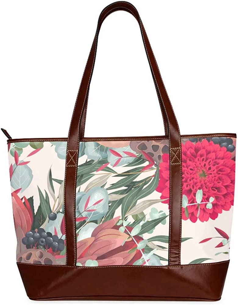 Tote Bags Seamless Pattern With Dahlia And Greenery Vector Travel Totes Bag Fashion Handbags Shopping Zippered Tote For Women Waterproof Handbag