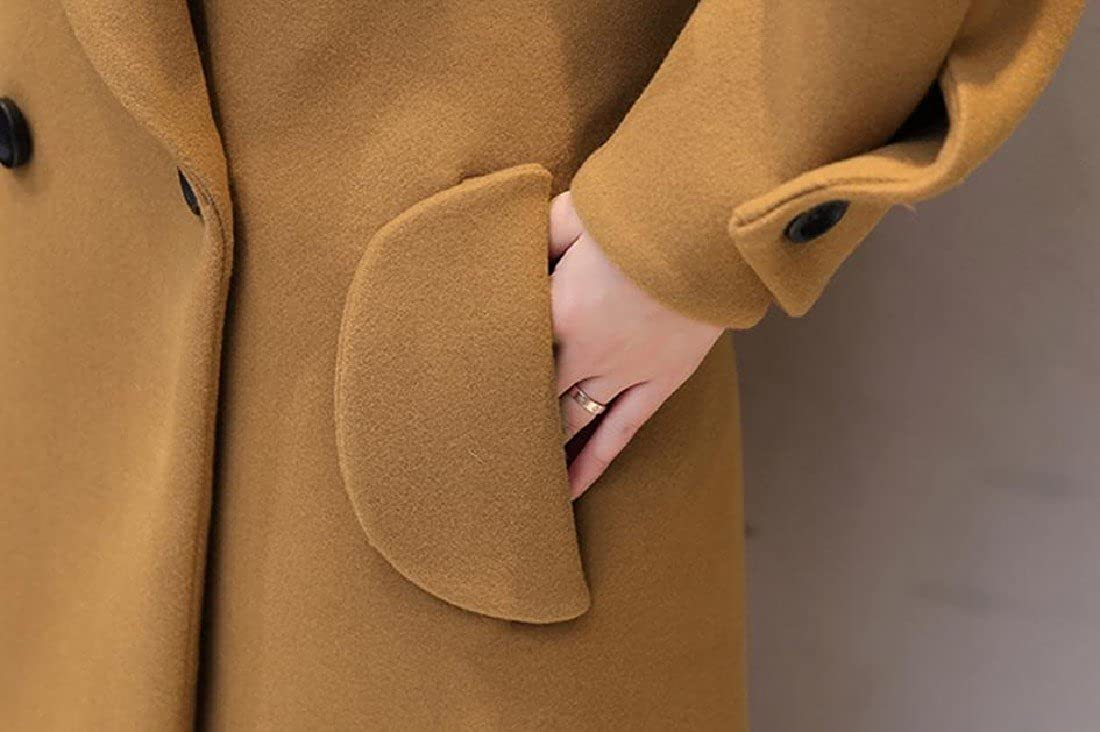 Tootlessly-Women Flare Tunic Mid-Long Woolen Jacket Baggy Style Pea Coat