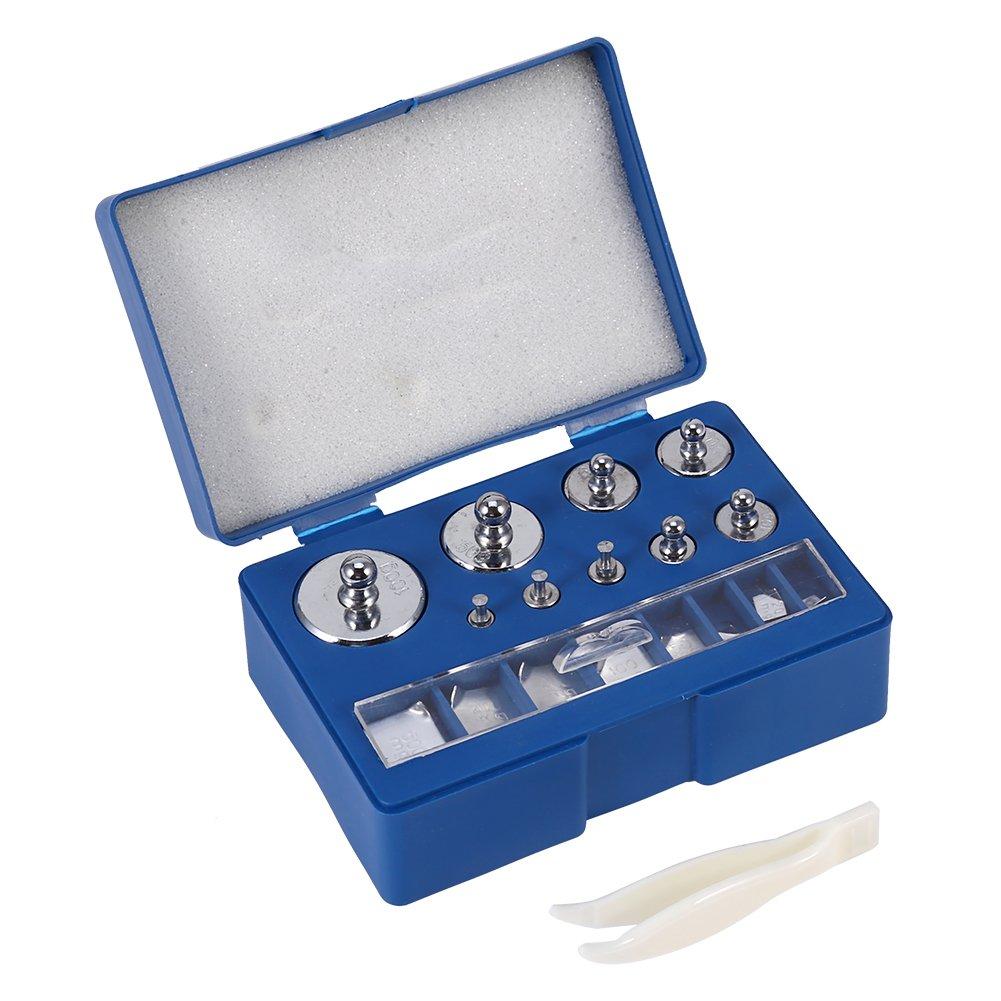 Peso de calibración, 17pcs 10mg-100g peso de calibración Kit gramos de clase acero cables metálicos +/-0.003g para báscula Digital de joyas escala laboratorio Etude Hobby peso de báscula de bolsillo