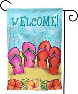 YISHOW Flip Flops On Summer Beach Welcome Garden Flag Double Sided Vertical House Flags Flip Flops On Summer Beach Welcome Yard Signs Outdoor Decor 12.5 X 18 Inch