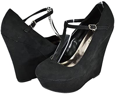 d71fab9461d3 Image Unavailable. Image not available for. Color  Breckelle Cilo-15W Black  Women Wedge Pumps