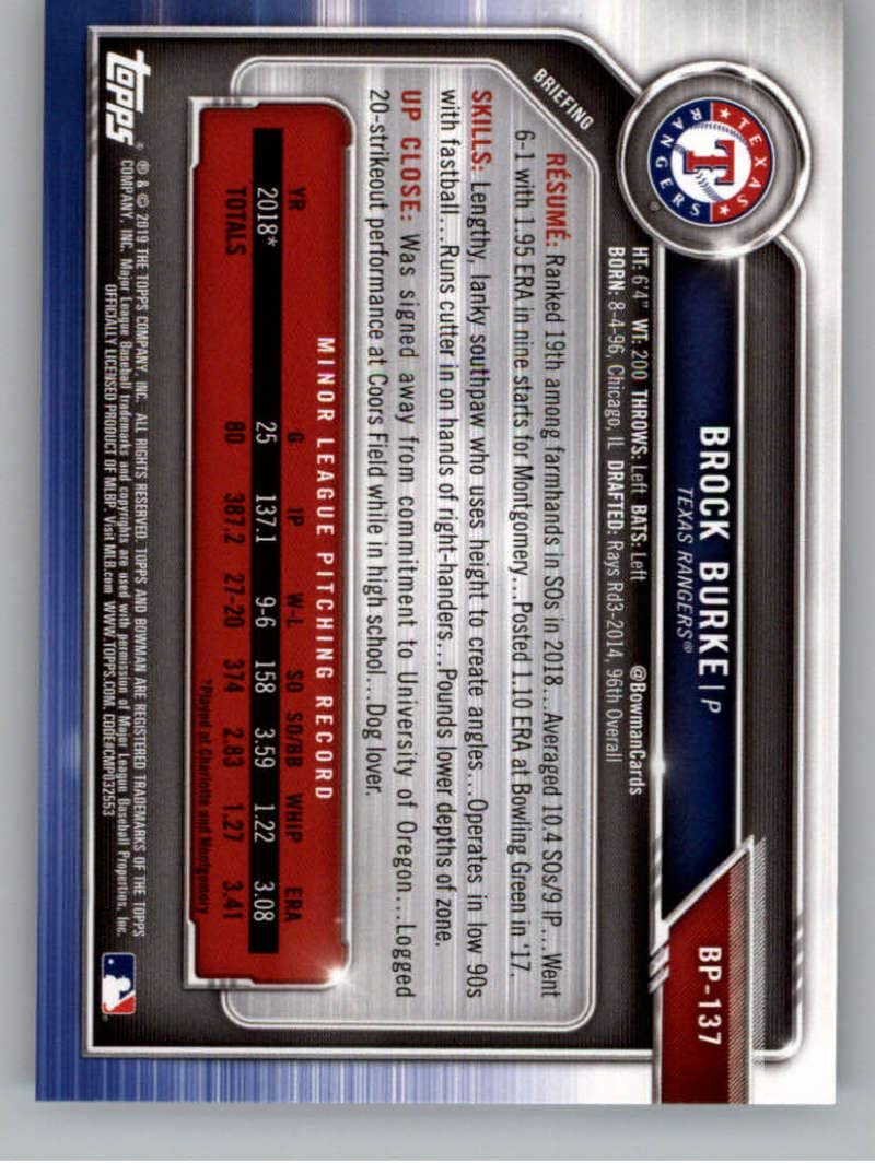 2019 Bowman Prospects Baseball #BP-137 Brock Burke Texas Rangers Official MLB Trading Card From Topps