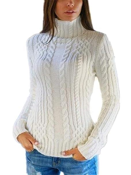 HX fashion Jersey Cuello Alto Mujer Otoño Invierno Elegante Manga Larga  Pullover Camisas Termica Color Sólido Suéter Áspero Basic Casuales  Sudaderas Suéter ... b91512a2fa86b