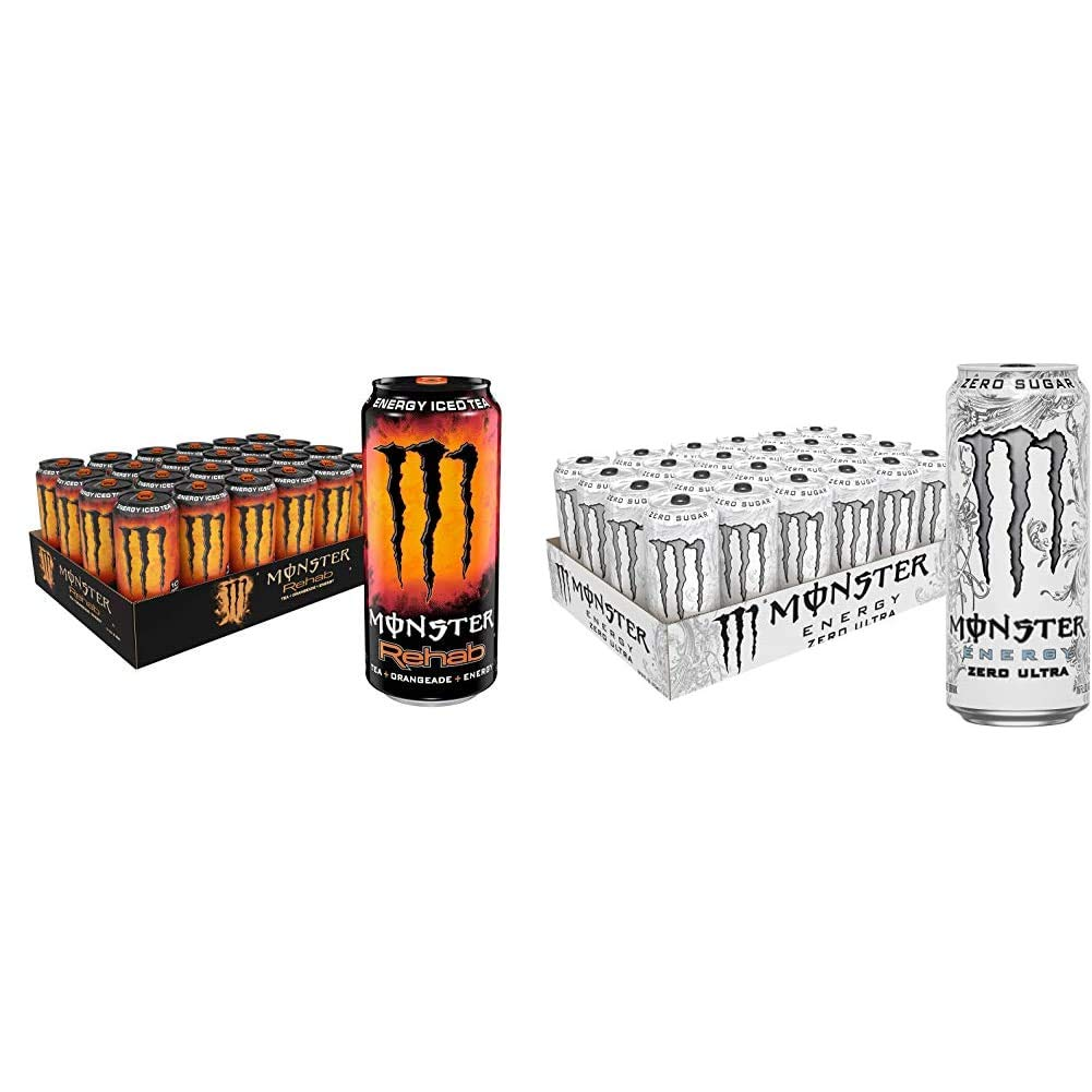 Monster Rehab Tea + Orangeade + Energy, Energy Iced Tea, 15.5 Ounce (Pack of 24) & Monster Energy Zero Ultra, Sugar Free Energy Drink, 16 Ounce (Pack of 24)
