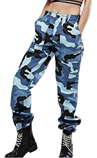 Oberora-Women Casual Cotton Multi Pockets Loose Fit Cargo Camo Jogger Pants 6af79b2657