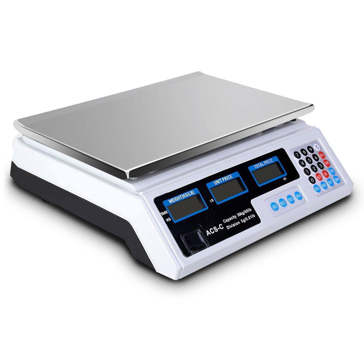 Giantex Digital Computación de peso escala precio venta al por menor de alimentos carne báscula con escala 66lbs: Amazon.es: Hogar