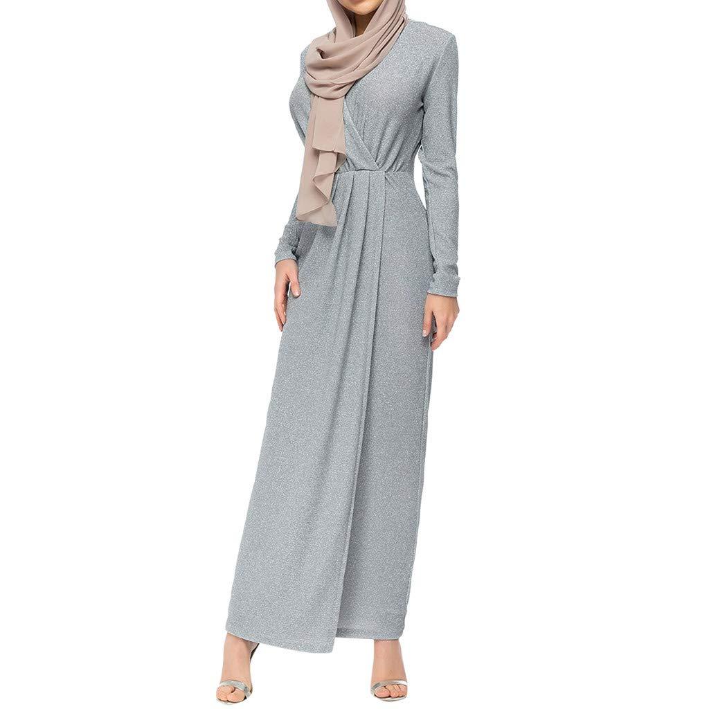 Muslim Elegant Long Dress Women Modest Maxi Dress Caftan Abaya Turkey Puff Sleeve Long Robe Solid Pleated Slit Flowy Dress (S, Gary)
