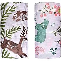 "Muslin Swaddle Toddler Blanket - 2 Pack 47""x47"" Green bear & Sika deer Blankets for boys & girls - Softest Baby Receiving Blankets Baby Shower Gifts Stroller Blanket (Green bear & Sika deer)"