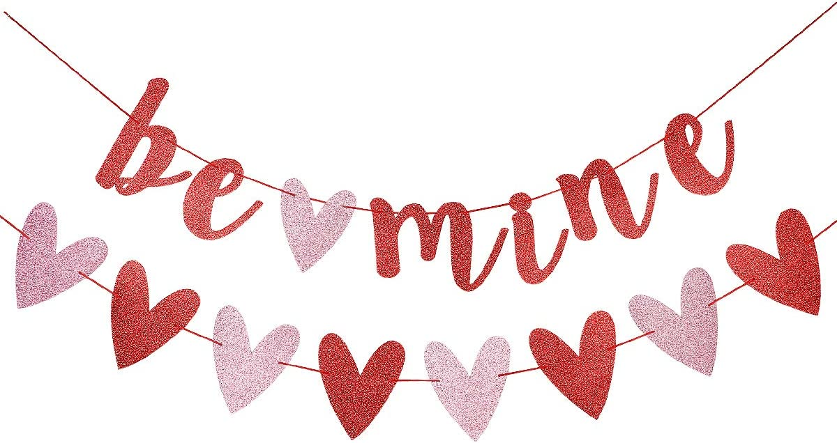 Red Glittery Be Mine Banner and Red & Pink Glittery Heart Garland Banner- Valentine's Day Party Decorations,Wedding Party,Engagement Party,Home Decorations Supplies