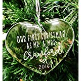 Our First Christmas - Personalized Crystal Ornament