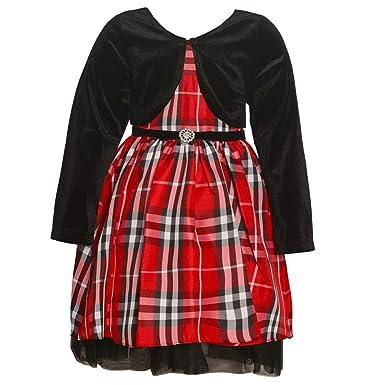 e7149907f68b Rare Editions Big Girls 7-16 Holiday Day Christmas Plaid Dress and Black  Velvet Bolero