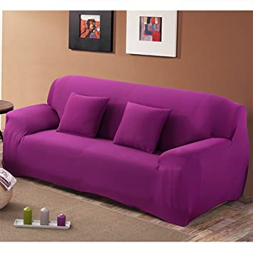 Mobo Purple Sofa Cover - 1-Piece Slipcover for 74-90 Inches 3 Seater -  Stretch Elastic couch cover with Polyester Spandex Fabric