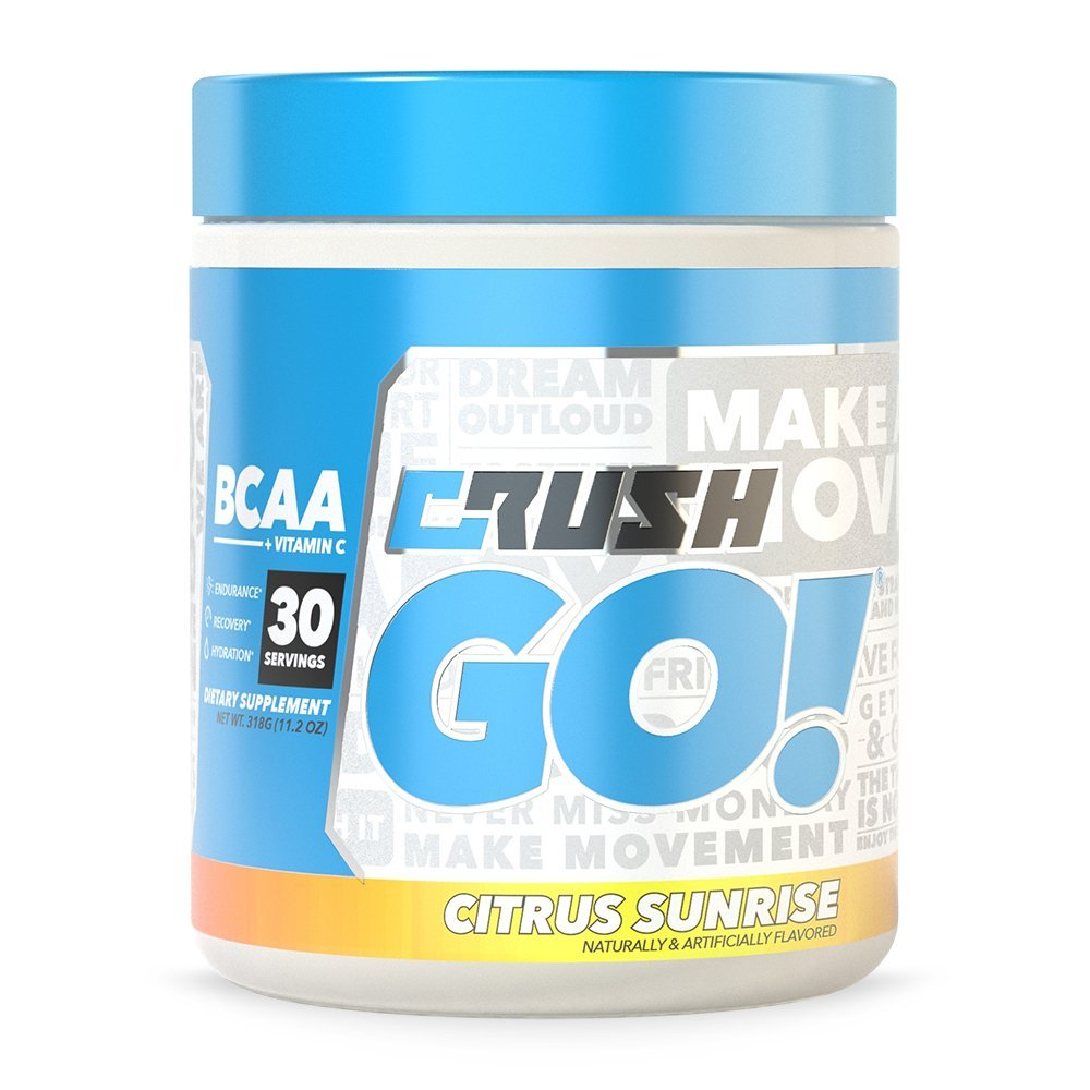Crush GO! BCAA + Vitamin-C - Amino Acids For Recovery - No Fillers, No Dyes, No Proprietary Blends (Citrus Sunrise)