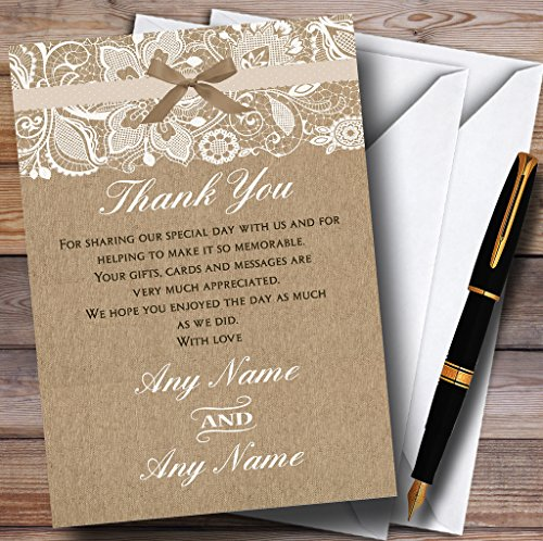 Vintage Burlap & Lace Personalized Wedding Thank You Cards