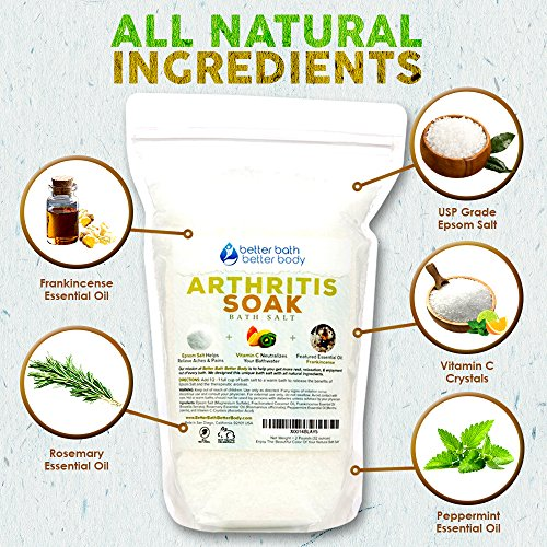Arthritis Bath Salt 32oz (2-Lbs) - Epsom Salt Bath Soak With Frankincense Essential Oil & Vitamin C - Get Arthritis Relief With This Natural Bath Soak - All Natural No Perfumes No Dyes by Better Bath Better Body (Image #1)