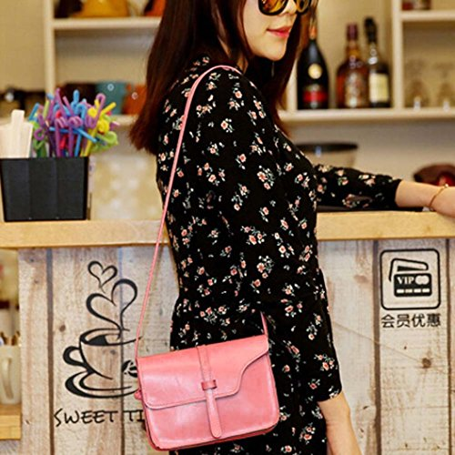 Bag Cross Shoulder Body Paymenow Little Bag Pink Leather Shoulder Handle Crossbody Leisure Bag Messenger FZTEYwPx