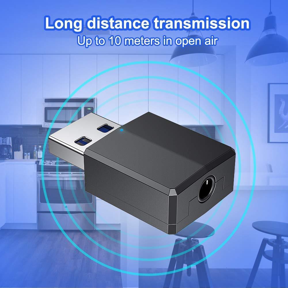 receptor transmisor Bluetooth inal/ámbrico con cable de audio digital de 3.5 mm para PC//casa//auriculares//TV//coche Bluetooth 5.0 Adaptador Bluetooth EDUPUP adaptador USB Dongle
