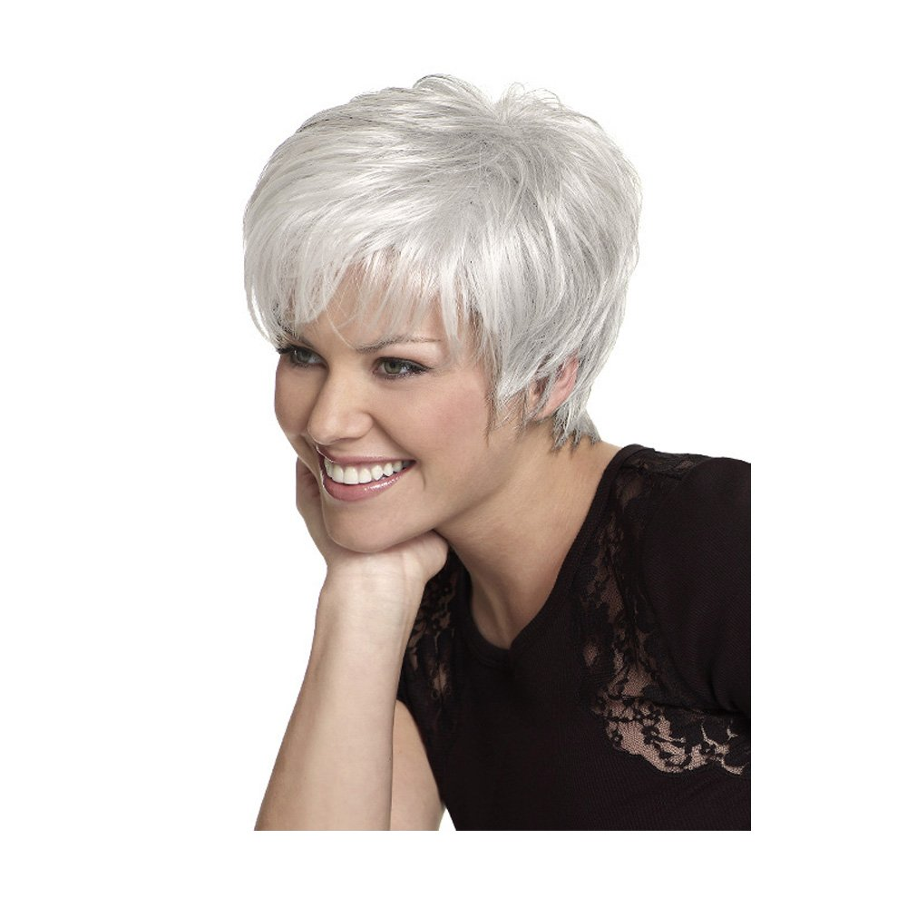 LEJIMEI Short Wigs With Bangs -Silver White Synthetic Hair Wigs for White Women Daily Use Fashion Full Wig + Free Wig Cap