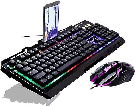 Juego G700 Luminoso USB con Cable Ratón y Teclado Traje con luz de Fondo del Arco Iris Luces LED Teclado mecánico Ratón para Juegos (Negro) ...