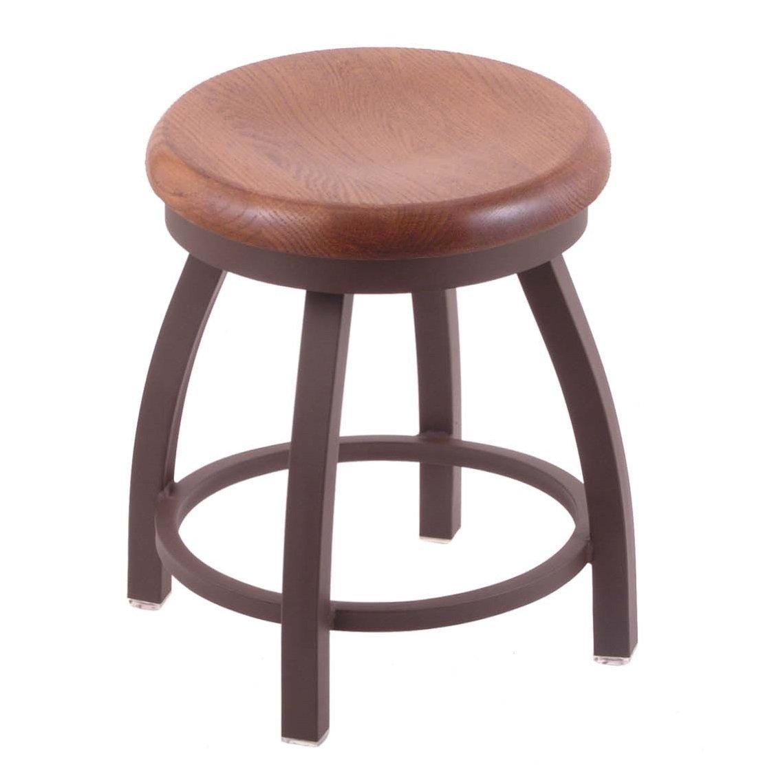 Holland Bar Stool Co. 802 Misha Vanity Stool with Bronze Finish and Swivel Seat, 18'', Medium Oak by Holland Bar Stool
