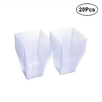 YeahiBaby 20PCS Vasos de Porción de Plástico Taza Desechable de Postre Yogur Salsa Taza de Fiesta