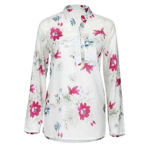 Verano Camisetas De Mujer 💝 Yesmile Blusa Las Mujeres Más el Tamaño de Gasa Floral de