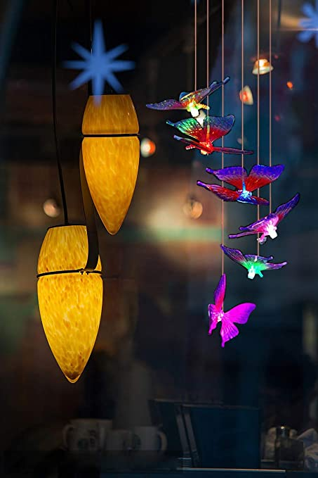 Solar Wind Chimes Lights Color Changing Waterproof LED String Lights Butterfly Shape Mobile Hanging Outdoor Decor for Garden Courtyard Lawn Patio Corridor Party