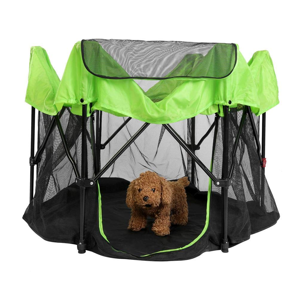 Greeflu Foldable Puppy Playpen, Detachable Pop Up Silhouettes Tent for for Small Medium Large Indoor and Outdoor Use