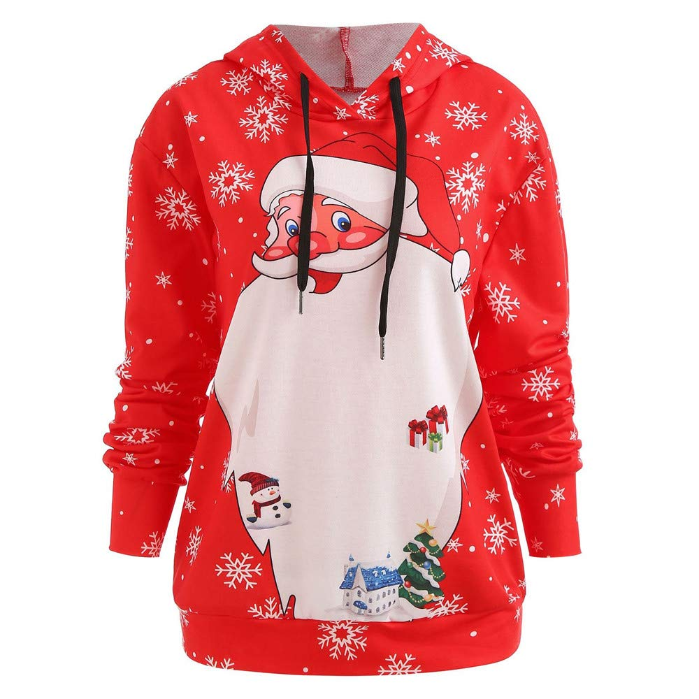 TIREOW Frauen Langarm Weihnachten Santa Print Lässige Hoodie Sweatshirt Bluse Tops