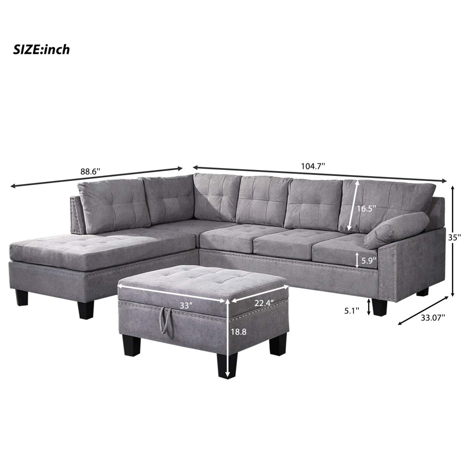 Harper Bright Designs Sectional Sofa Set with Chaise Lounge and Storage Ottoman Nail Head Detail Grey