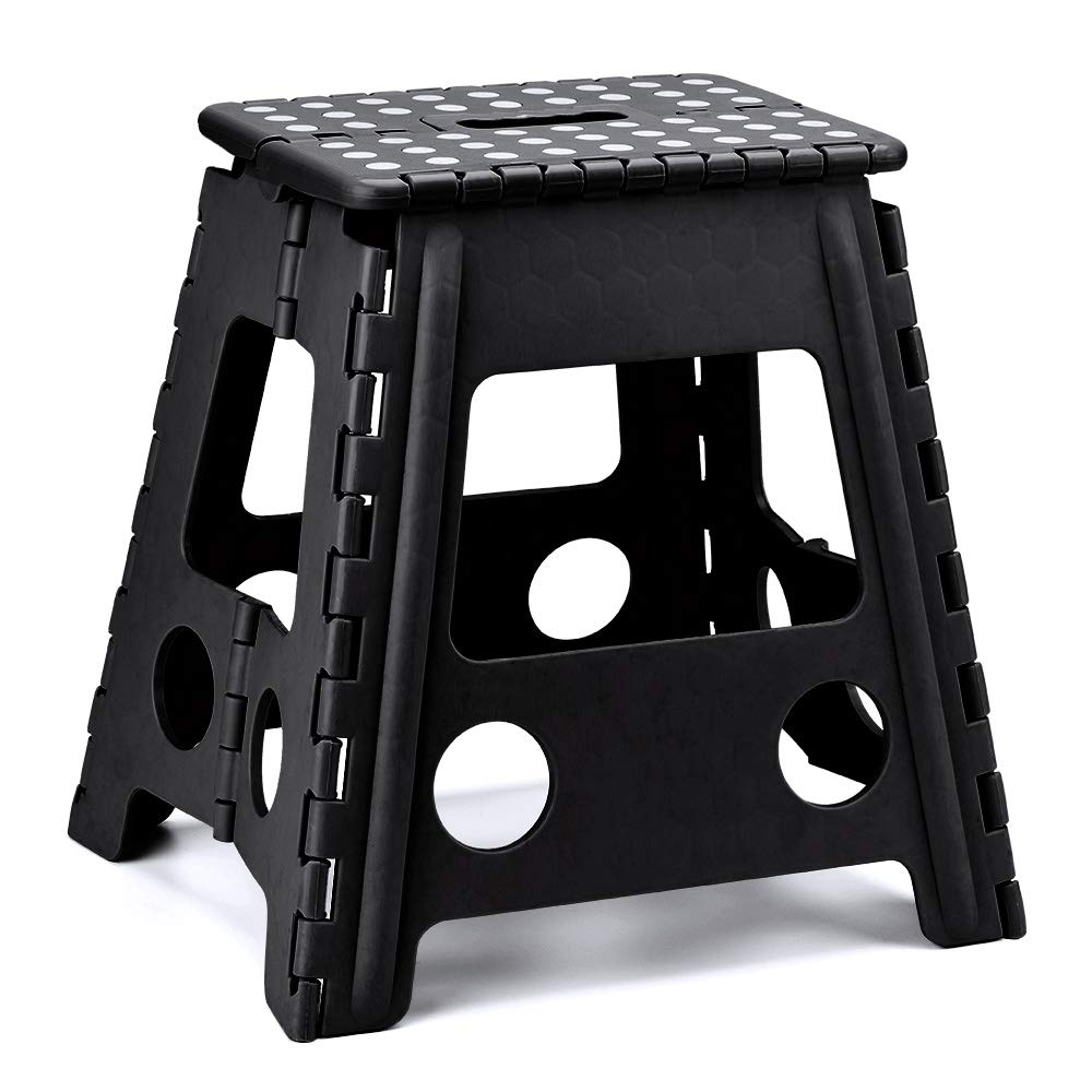 Delxo Folding Step Stool Super Strong Plastic Folding Stools,16 inch Foldable Step Stool for Kids and Adults,Non Slip Kitchen Stepping Stools, Garden Step Stool,Black