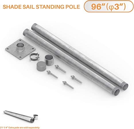 Amazon Com Tang Sun Shade Sail Pole Kit Stand Post Canopy Support Post Rigid Galvanized Metal Steel Pipe Heavy Duty With Base D Ring Clamp Fence Post Sign Post 8 96 Garden Outdoor