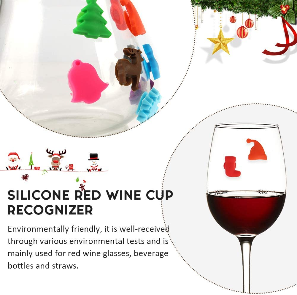 Christmas Drink Markers with Suction Cup Bosiwee Set of 12 Magnetic Wine Glass Charms /& Cocktail Markers Cute Christmas Glass Identifiers For Christmas Party Supplies