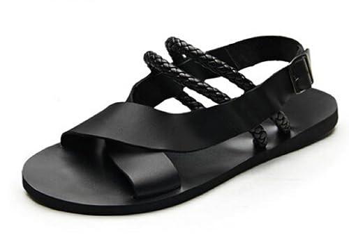 9c027d759da Fengxinzi Men Black Leather Flats Beach Sandals Strappy Buckle Flip Flops  Gladiator Shoes (M 41
