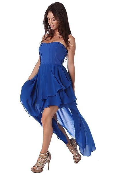 Q2 Mujer Vestido largo palabra de honor azul eléctrico con diseño asimétrico y detalle de volantes