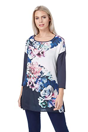 e581f57f801 Roman Originals Women Floral Satin Front Tunic Top - Ladies Daytime 3/4  Sleeve Work Office Casual Tunics Tops - Blue: Amazon.co.uk: Clothing