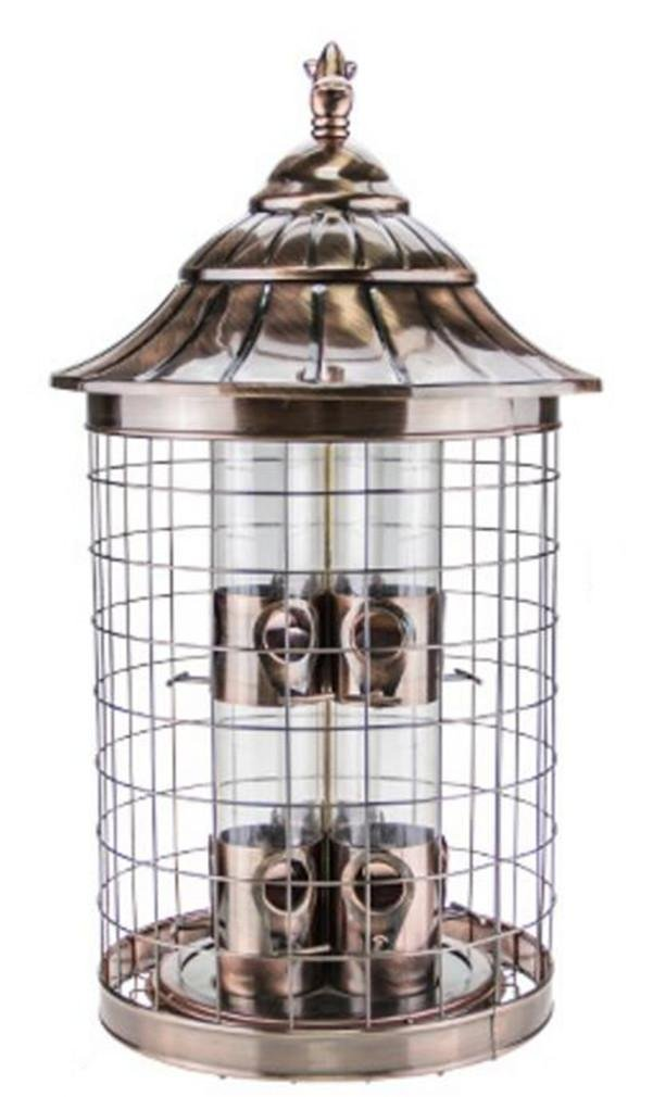 NWYJR Eichhörnchen Beweis Samen Vogelhäuschen hängen ziehen Vögel Wild Bird Feeder Garten Regen Unterschlupf wetterfest rote Bronze Vogel Trog