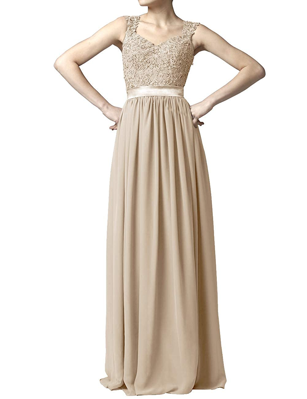 Champagne Women' Cap Sleeve Lace Bridesmaid Dresses Long Wedding Party Gowns