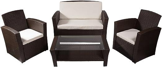 REBAJAS : Salon de jardin con sillones y mesa de polirratan: Amazon.es: Hogar