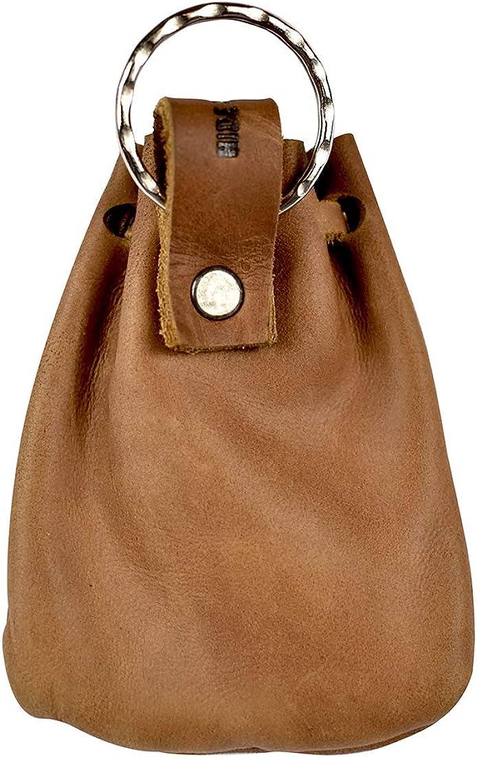 Hide & Drink, Leather Mini Medieval Pouch Keychain, Coin Organizer, Change Holder, Accessories, Handmade :: Single Malt Mahogany