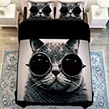 MeMoreCool Fashion Cat with Glasses Duvet Cover Set - 4 Pieces (Full,Black)